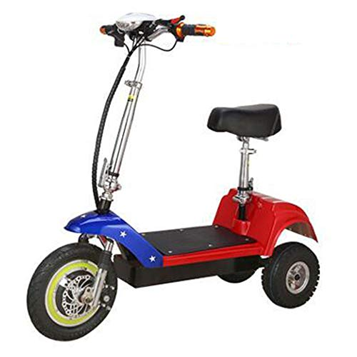 SZPDD Vélo électrique pliable à 3 roues (12 pouces à l'avant et 10 pouces à l'arrière) Mini ordinateur portable 12A avec batterie au lithium pliable rapidement, ColorD