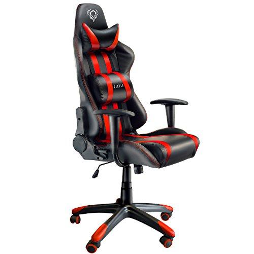 Diablo X-One Gaming Office Chaise de bureau mécanisme d'inclinaison supporte jusqu'à 150 kg coussin lombaire et oreiller en cuir synthétique (noir-rouge)
