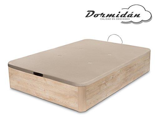Dormidane - Canapé pliant de grande capacité avec coins en bois rond, base respirante 3D rembourrée + 4 valves d'aération 150x190cm couleur chêne