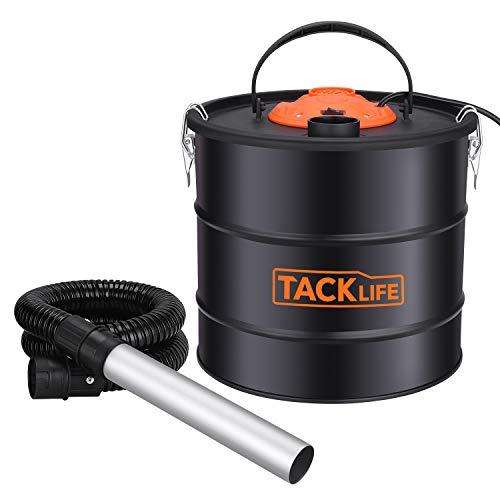 TACKLIFE Extracteur de cendres, 800W, 18 L, ventilateur 140W, 14 Kpa, 1.3M tube flexible + 0.2M tube en aluminium, 5M câble, aspirateur pour cheminées, poêles et brûleurs à bois, collecteur de poussière-PVC03A