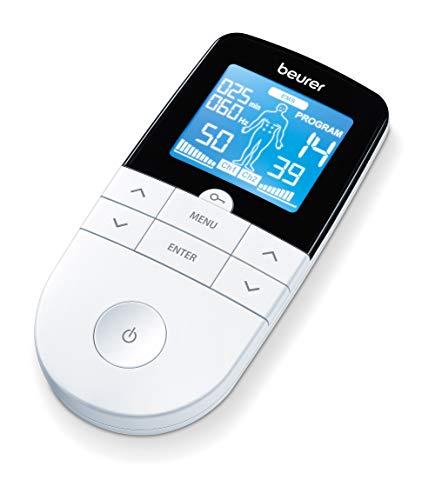 Beurer EM49 Électrostimulateur de massage numérique EM49 EMS TENS, écran LCD, 2 canaux, 4 électrodes auto-adhésives