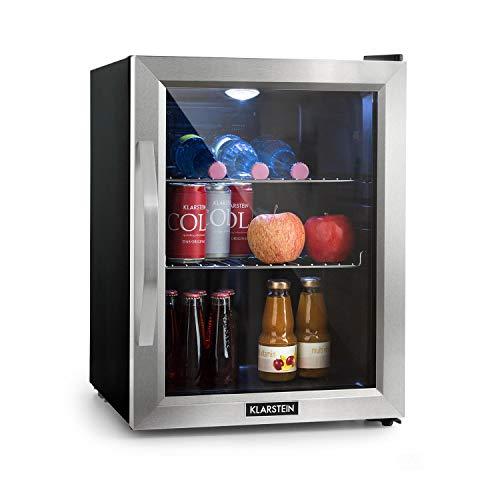 Klarstein Beersafe 4XL - Minibar - Petit refroidisseur de boissons - Refroidisseur de boissons - A+ - Volume 124L - Fonctionnement silencieux - Porte vitrée - 48 x 85 x 46 cm - Éclairage LED - Argent