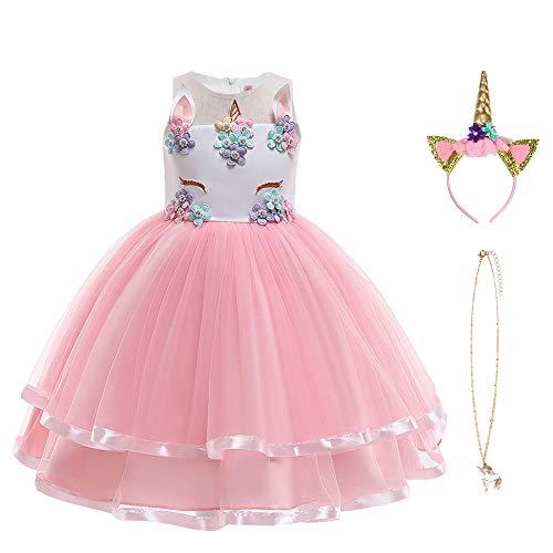 URAQT Princess Costume, Snow Princess Dress Robe de princesse Robe d'enfant Robe de princesse Costume de princesse pour la fête de Noël à thème gelé anniversaire de Noël Halloween Roses
