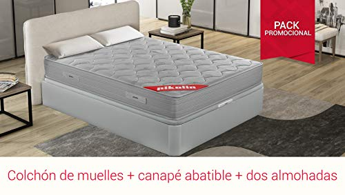PIKOLIN Pack Matelas viscoélastique à ressorts PIKOLIN 150x190+ canapé avec base pliante en bois et deux oreillers visqueux