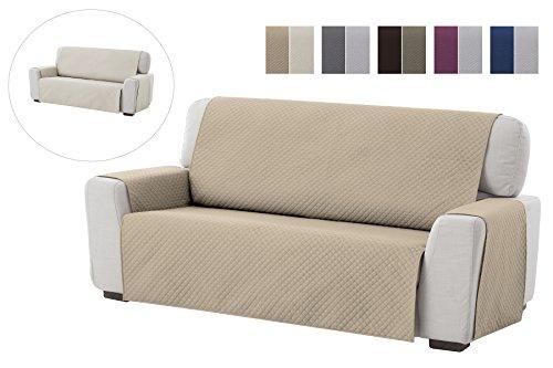 Housse de canapé Adele, 3 places, Revêtement de canapé rembourré réversible, pour la maison textile. Couleur Beige