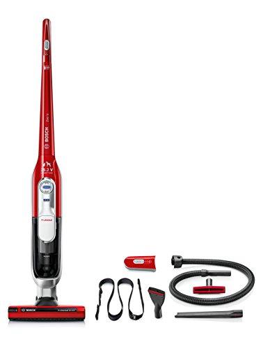 Bosch BCH6ZOOOO Zoo'o ProAnimal - Aspirateur balai + kit d'accessoires ProAnimal (brosse spéciale pour animaux, technologie SensorBagless, batterie lithium-ion 25,2V), couleur rouge