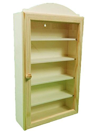 Vitrine des collections en bois. Avec 5 étagères pour placer différents articles. Porte vitrée. Bois brut, pour décorer.