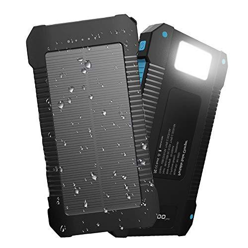 Innoo Tech Chargeur Solaire 20000mAh, Bloc d'alimentation portable avec batterie externe et protection IP65 (antichoc, étanche à l'eau, à la poussière), Indicateurs et lampe de poche LED pour téléphone Android, Apple, haut-parleurs