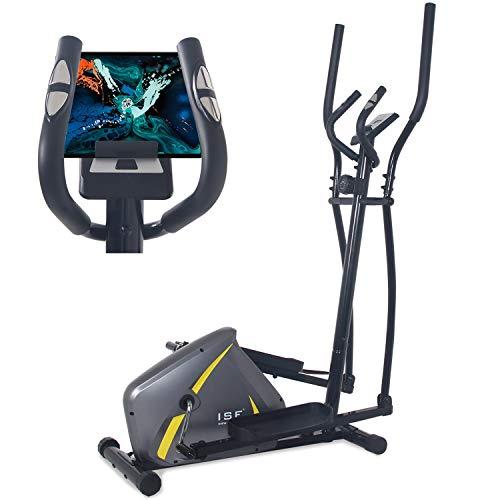 ISE Home Fitness Vélo elliptique avec capteur de pouls, 8 niveaux de résistance à l'inertie du volant, écran LCD, appareil de musculation elliptique réglable, Max.110kg, SY-980202