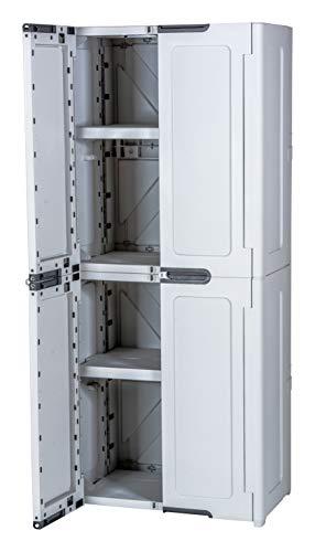 Keter MAGIX High Armoire avec 4 étagères, gris clair, 179 x 76 x 46 cm