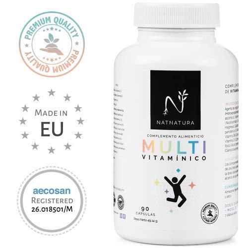 Complexe multivitaminé pour hommes et femmes, à base de vitamines et minéraux. Réduit la fatigue, la fatigue et renforce le système immunitaire. 90 capsules végétales. Végétarien et sans gluten.