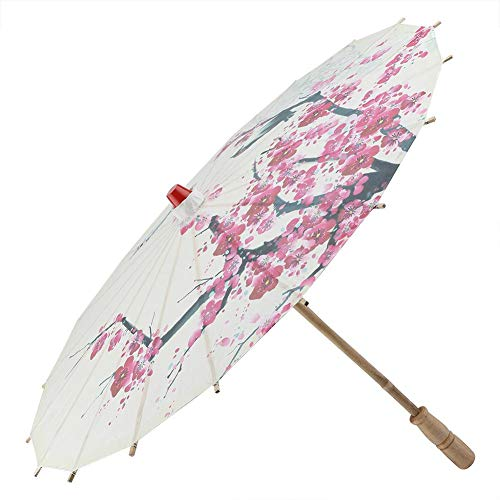 Parapluie, rétractable, classique, fait main, huile, papier, parapluie, peinture, accessoires de danse, imperméable, parapluie avec fleurs de prunier et manche en bois.