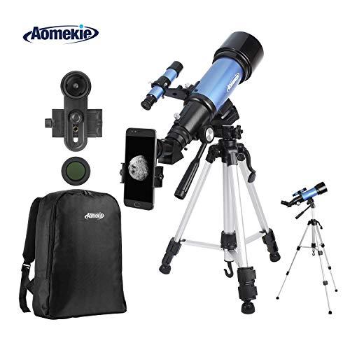 Aomekie Astronomical Telescope 70/400 Télescopes pour enfants avec adaptateur téléphonique 10X Filtre de lune pour trépied ajustable et objectif 3X Barlow