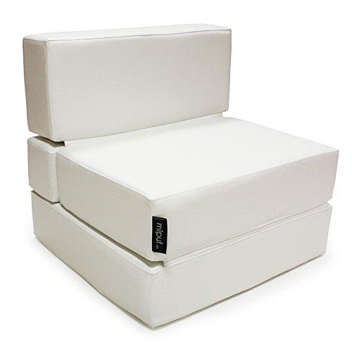 MiPuf - Sofa Pouf Lit Pliant - 190x80x20 cm - Tissu Polyskin Haute Résistance - Double couture - Mousse Intérieure Haute Densité - Blanc - Garantie 4 ans