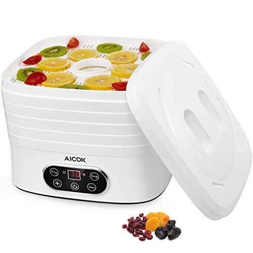 Déshydrateur d'aliments Déshydrateur de fruits avec 5 plateaux amovibles, thermostat réglable, écran LCD, minuterie jusqu'à 72h Déshydrateur de fruits, légumes, viande, 240W, sans BPA