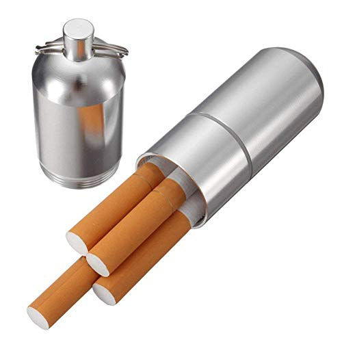 TrifyCore Mini étui à cigarettes en aluminium pour hommes Porte-clés, Boîte à cigarettes ronde résistante à l'eau, pochette ronde