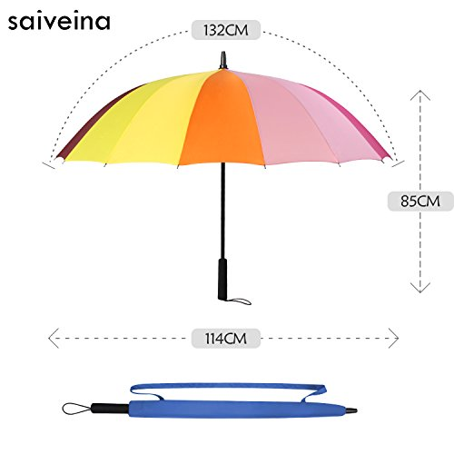 Parapluie Saiveina Large Hommes Classic coupe-vent, 16 baguettes, Teflon T190, manche en mousse, très résistant - Multicolor