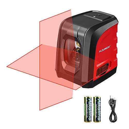 Niveau laser, niveau laser automatique FLOUREON, niveau laser automatique, niveau transversal, nivellement automatique, horizontal et vertical, charge avec type C ou piles (inclus)