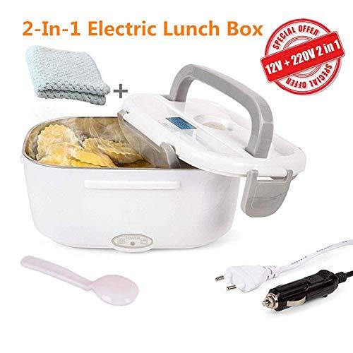 Nifogoo Boîte à lunch électrique 2 en 1 pour la voiture et le travail - Poêle pour aliments chauds 12V et 220V en acier inoxydable - Taper et Thermo 40W avec fourchette et 2 compartiments (x-Gris + 2 chiffons)