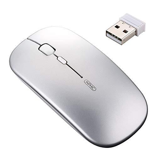Souris sans fil rechargeable, Souris optique tristement célèbre Silent Silent Click Mini, Ultra Slim 1600 DPI pour ordinateur portable, PC, portable, ordinateur, Macbook (Argent clair)