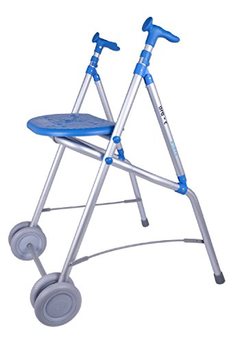 Marchette pliante en aluminium avec deux roues Forta à siège bleu Forta