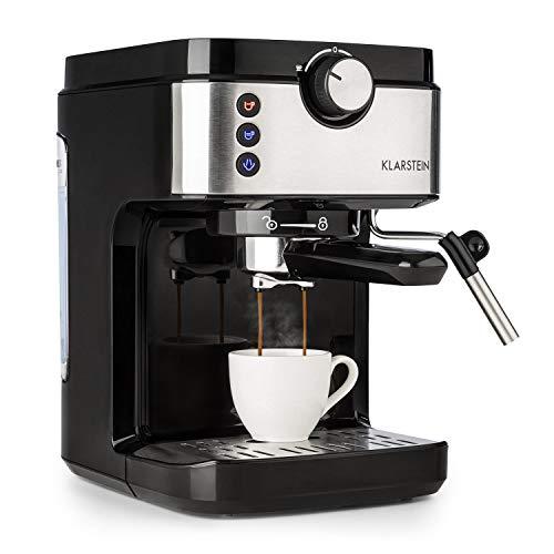 Klarstein BellaVita Espresso - Machine à expresso - 1575 watts - 20 bar - Pleine Pression - Capacité 900ml - Contrôle One Touch - Buse vapeur mobile - Acier inoxydable - Noir/argent