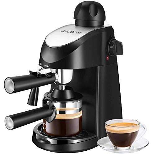Machine à café AICOOK, Cafetière espresso, Machine à cappuccino et à espresso, Évaporateur à lait, 4 tasses de café, 3.5 bars, 800W, Noir