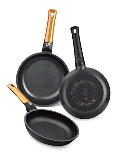 BRA Efficient Orange - Ensemble de 3 poêles à frire en fonte d'aluminium avec trois couches anti-adhésives sans PFOA, pour toutes les cuisines avec plaques à induction et vitrocéramique, lavables au lave-vaisselle, 18-22-26 cm