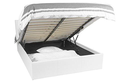 EuropeDirectShopping Luna Ottoman | Lit avec rangements | Somier 180x200 | Blanc | Lit avec tiroirs | 900 Liter Storage Space | Tête de lit amovible | Canapé 180x200
