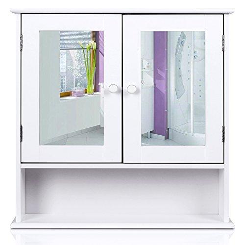 HOMFA Armoire de toilette avec miroir Armoire de toilette Armoire murale Cuisine ou Armoire à pharmacie Blanc 2 portes et 3 étagères MDF 56x13x58cm