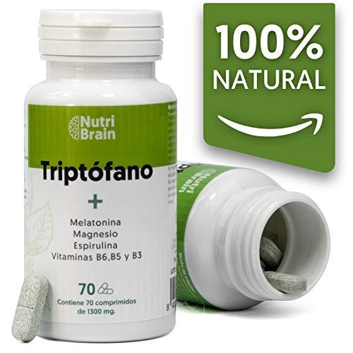 Tryptophane naturel avec mélatonine et spiruline | 70 tablettes | Formule naturelle pour améliorer le sommeil, réduire l'anxiété, augmenter l'énergie, la concentration et le bien-être