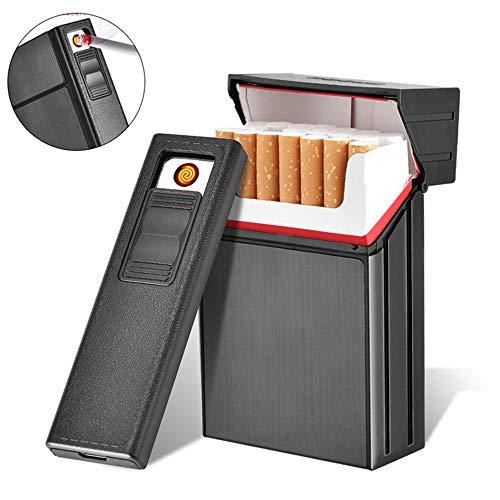 AUOKER Cigarette Box avec allume-cigarette électrique, USB séparable Cigarette en métal rechargeable étui à cigarettes en métal étui à la mode boîte à cigares pour 20 cigares, à l'épreuve du vent avec câble USB