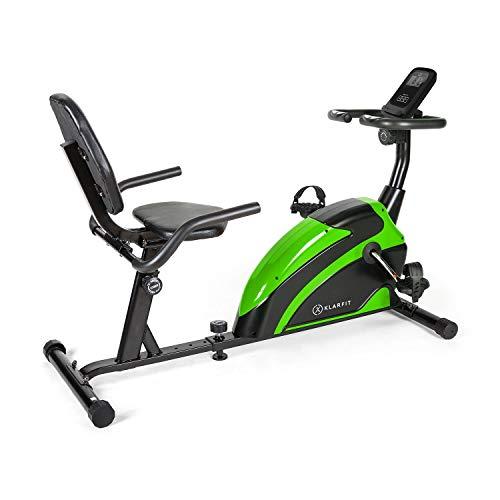 Klarfit Relaxbike 6.0 SE Vélo couché - Vélo stationnaire - Volant d'inertie 12 kg - Résistance magnétique 8 niveaux - Porte-tablettes - Silencieux - jusqu'à 100 kg - Vert