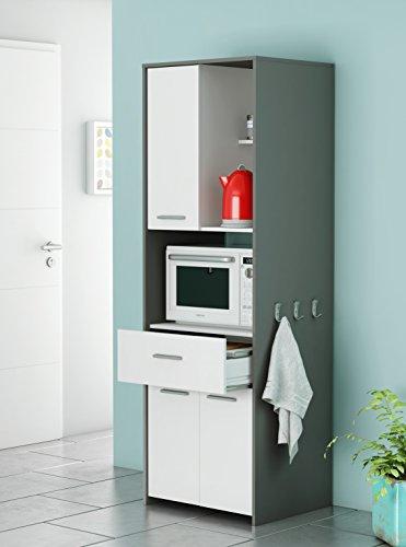 Armoire haute auxiliaire ou bouffe pour cuisine en blanc et gris graphite avec tiroir 180x60x50 cm