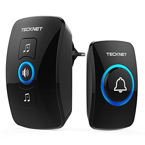 TeckNet Wireless Ringer Buzzers de porte enfichables sans fils à 300m de portée, Indicateurs LED, Résistant à l'eau, 4 niveaux de volume, Sonnerie d'accueil portable (1 récepteur et 1 émetteur)