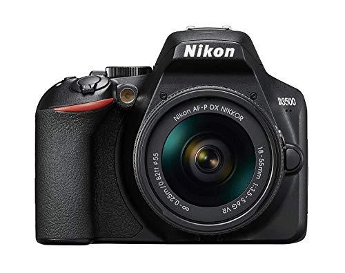 Nikon D3500 - Appareil photo Reflex 24 MP (Full HD, 100-25600 ISO, Système autofocus, Mode guide, LCD, SnapBridge) - Kit avec objectif 18/55VR AF-P, boîtier et livre - Version Nikonist