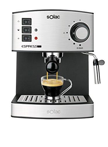 Solac CE4480 19 Bar Espresso-Cafetera avec vapeur, 850 W, 1.25 litres, 0 décibels, acier inoxydable