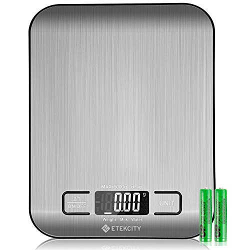 Etekcity EK6015 Balance de cuisine numérique en acier inoxydable, 5kg / 11 lbs, Balance multifonctionnelle, Poids de la cuisine, couleur argent (piles incluses)