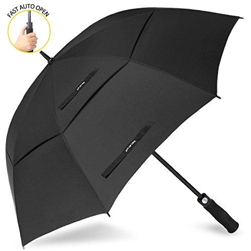 ZOMAKE Grand Parapluie coupe-vent ZOMAKE, Parapluie de golf automatique avec double housse pour femmes Hommes (Noir)