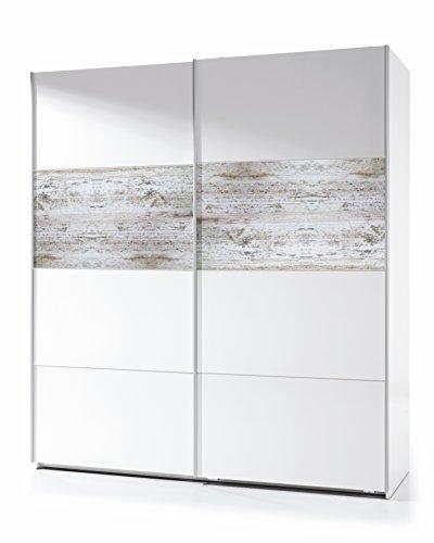 Habitdesign ARC181BO - Armoire coulissante Vintage, Finition Blanc Brillant et Décapé, Dimensions : 180x200x61 cm Profondeur