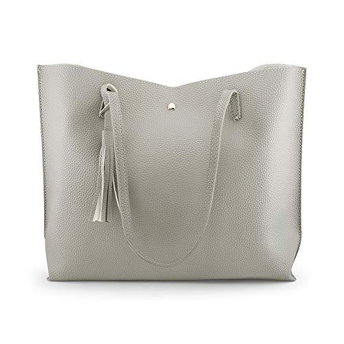 Rehao Shoppers et sacs à bandoulière pour femmes, Sacs à main Femme Sacs à main Hobo Sacs à main Hobo en similicuir Sacs à main Tote grande capacité porte-monnaie à pompon sac de voyage de travail (gris)