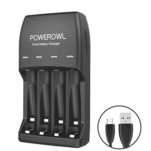 POWEROWL Piles rechargeables Ni-MH AA et AAA Chargeur, avec port USB LED Chargeur indicateur Chargeur (chargeur à 4 compartiments, sans batterie)