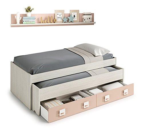 Habitdesign 0M7449Y - Lit double + 2 tiroirs et une étagère, Fini blanc alpin et rose pastel, Dimensions : 199x69x96 Bas de lit