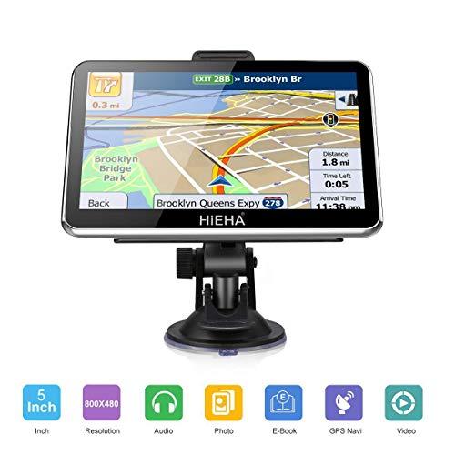 GPS pour voiture, HIEHA 5' Navigateur GPS 8GB écran tactile haute définition, carte de 48 pays, système de navigation multilingue.