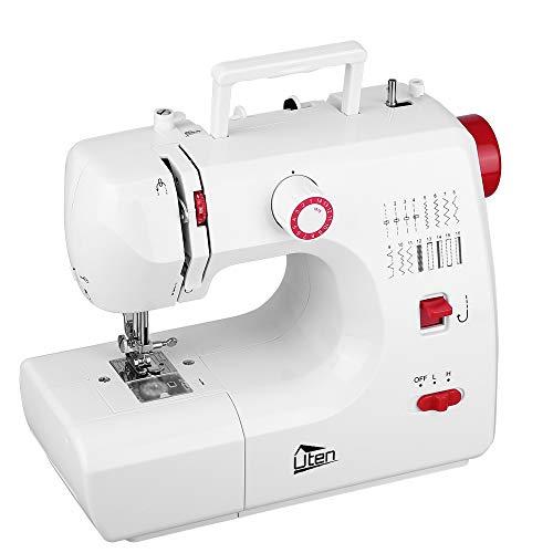 Uten Mini Machine à coudre portable manuel professionnel électrique avec lampe LED 16 points (Rouge+Blanc)