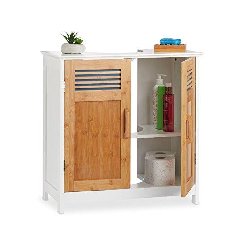 Meuble de toilette Relaxdays avec étagère réglable, DM-Bambou, blanc-brun, 60 x 60 x 60 x 30 cm