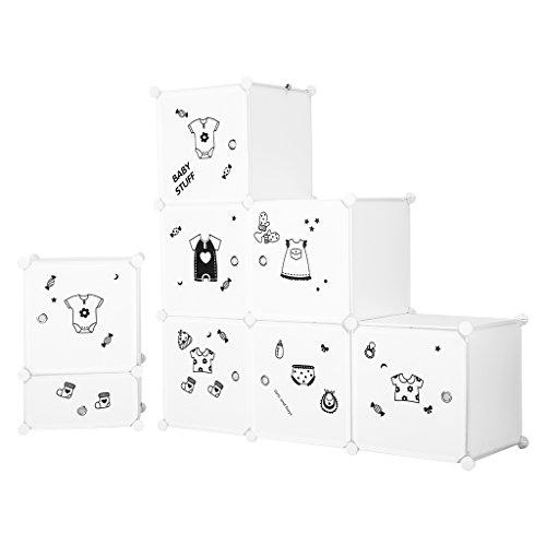 Armoire modulaire LANGRIA 6 Cube Cabriolet Organisateur avec portes, 1 Barre pour Vêtements Suspendus, Autocollants Décoratifs, Vêtements Mobilier, Chaussures, Accessoires, Jouets (Blanc)