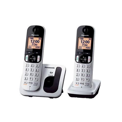 Panasonic KX-TGC212 - Kit de 2 téléphones fixes numériques sans fil, LCD 1.6', gris et noir