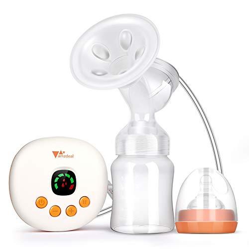 Amzdeal Electric Breast Pump - Tire-lait électrique avec 6 niveaux d'aspiration, tire-lait sans BPA avec coussin de massage doux, silencieux et portatif