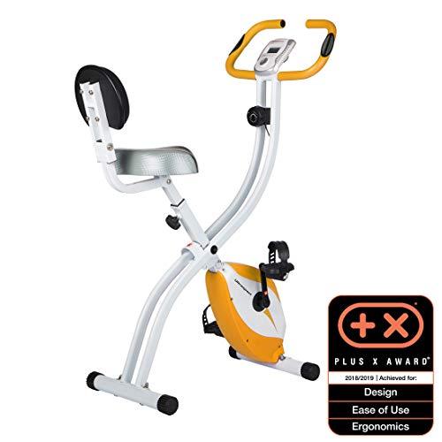 Ultrasport F-Bike 200B Vélo d'exercice avec capteurs de pouls manuels, avec dossier, pliable, orange